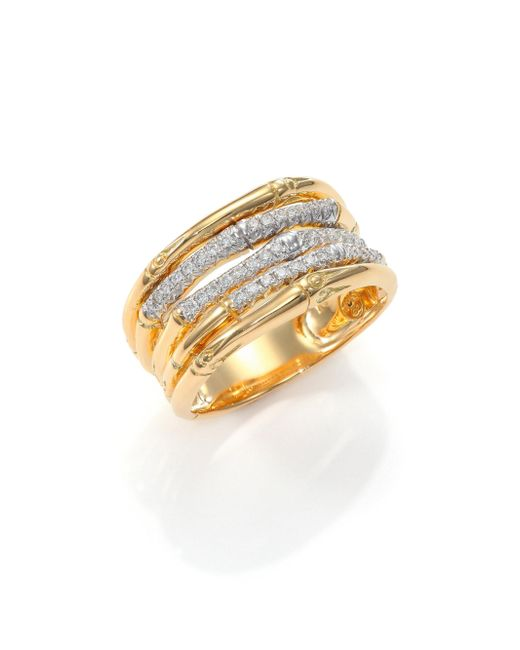 John Hardy - Metallic Bamboo Diamond & 18k Yellow Gold Ring - Lyst