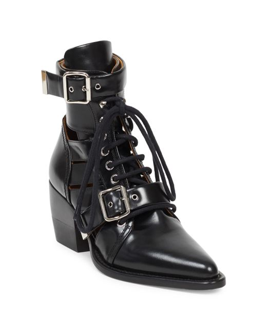 Lyst Chlo 233 Rylee Lace Up Leather Boots In Black