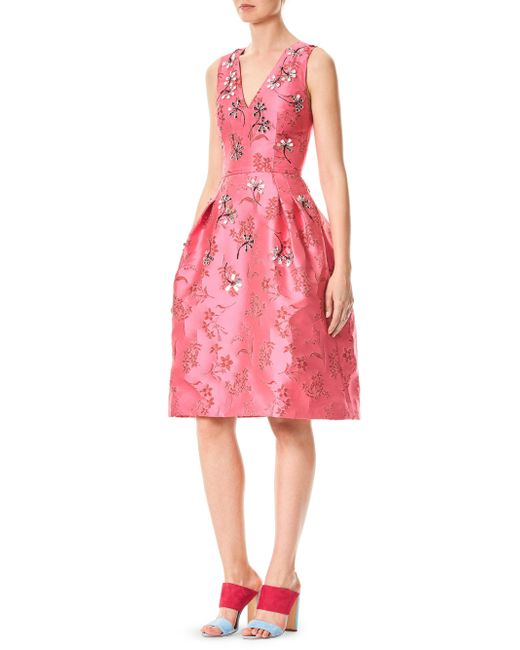Carolina Herrera - Pink Silk Floral-print Dress - Lyst