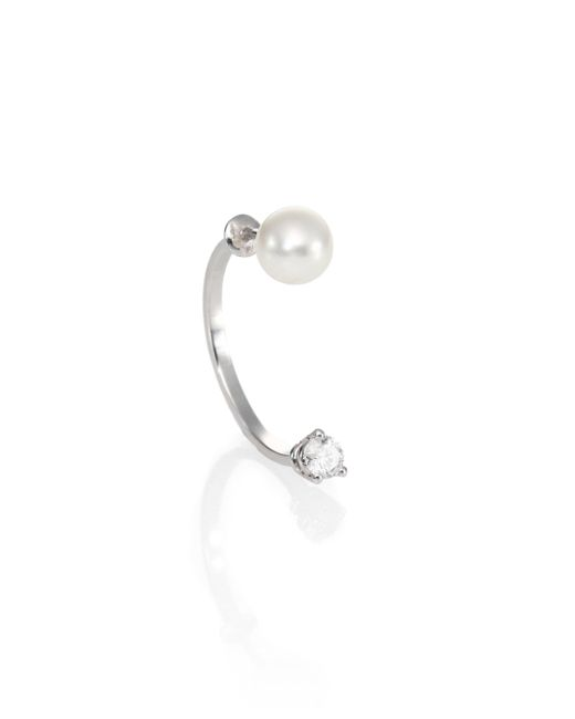 Delfina Delettrez - Metallic Never Too Light Diamond & Single Pearl Drop Earring - Lyst
