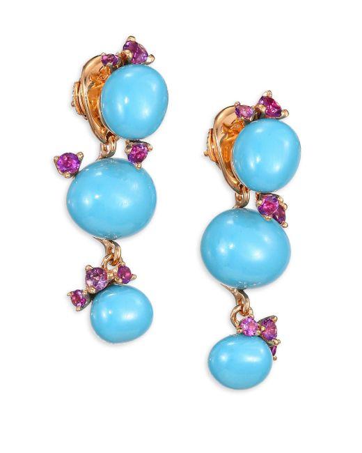 Pomellato | Metallic Amethyst & Turquoise Ceramic Round Drop Earrings | Lyst