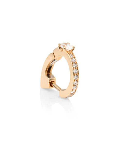 Repossi - Metallic Pavé Diamond & 18k Rose Gold Hoop Single Earring - Lyst