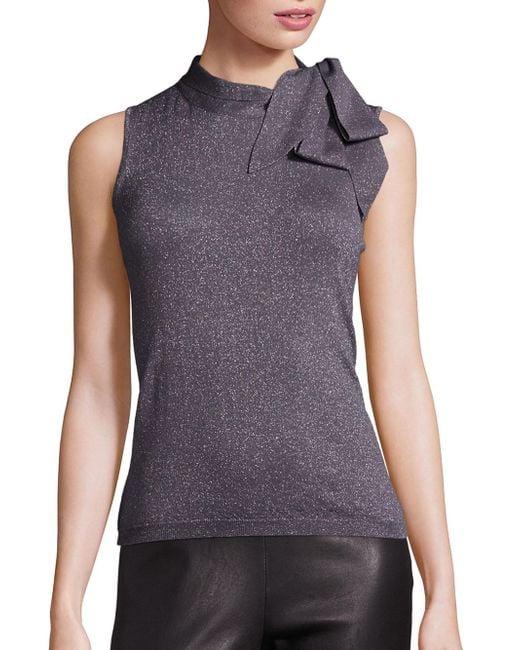 Saks Fifth Avenue | Gray Metallic Bow Sleeveless Sweater | Lyst