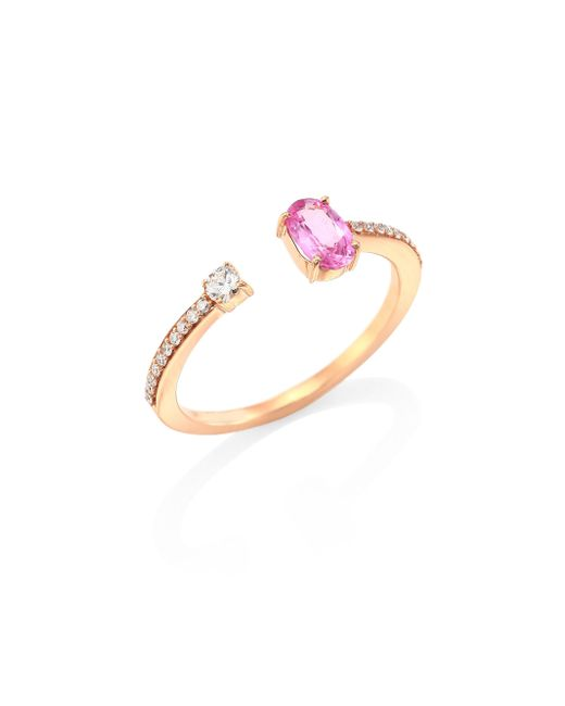 Hueb | Metallic Rainbow Diamond, Pink Sapphire & 18k Rose Gold Open Ring | Lyst