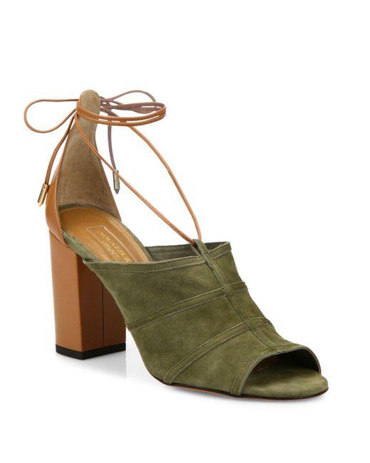 Aquazzura | Green Very Eugenie Suede Tie-up Sandals | Lyst
