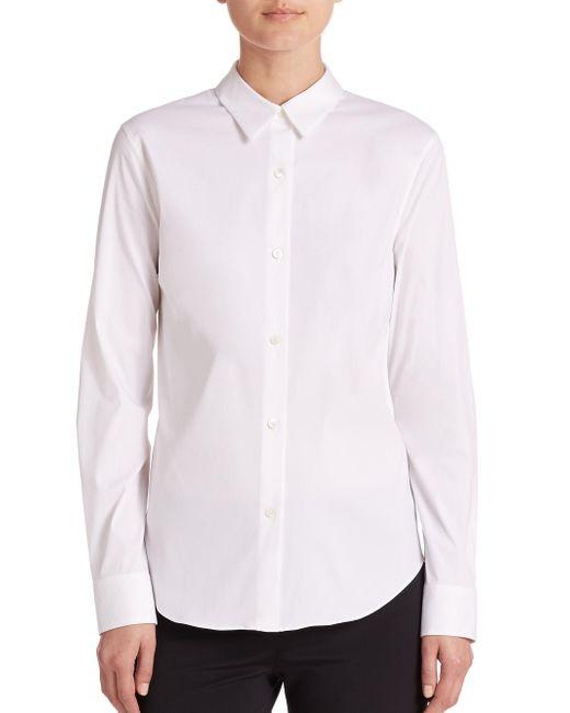 Theory - White Tenia Luxe Cotton Shirt - Lyst