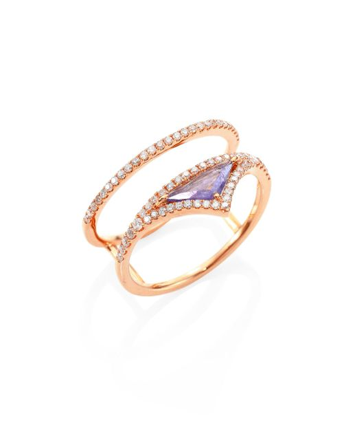 Meira T - Metallic Diamond, Tanzanite & 14k Rose Gold Ring - Lyst