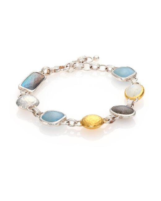 Gurhan - Metallic Lentil Semi-precious Multi-stone, 24k Yellow Gold & Sterling Silver Storm Bracelet - Lyst