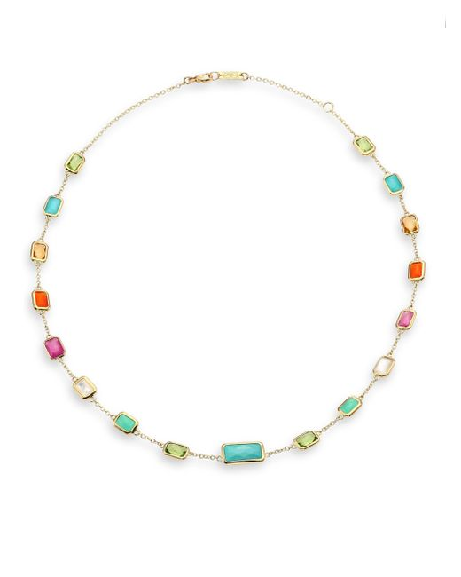 Ippolita | Multicolor Rock Candy Semi-precious Multi-stone & 18k Yellow Gold Station Necklace | Lyst
