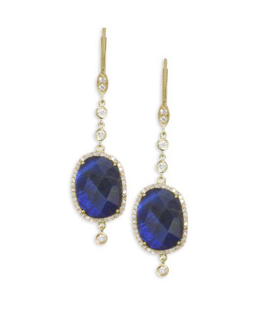 Meira T - Metallic Diamond, Blue Labradorite & 14k Yellow Gold Drop Earrings - Lyst