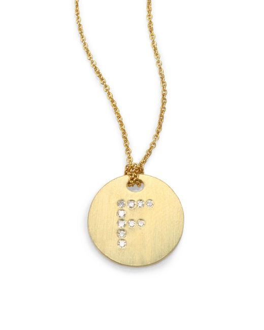 Roberto Coin - Metallic Tiny Treasures Diamond & 18k Yellow Gold Initial Pendant Necklace - Lyst