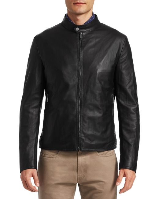 Saks Fifth Avenue - Black Collection Banded Collar Leather Jacket for Men - Lyst