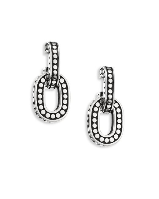 John Hardy | Metallic Dot Small Sterling Silver Hoop Earrings | Lyst