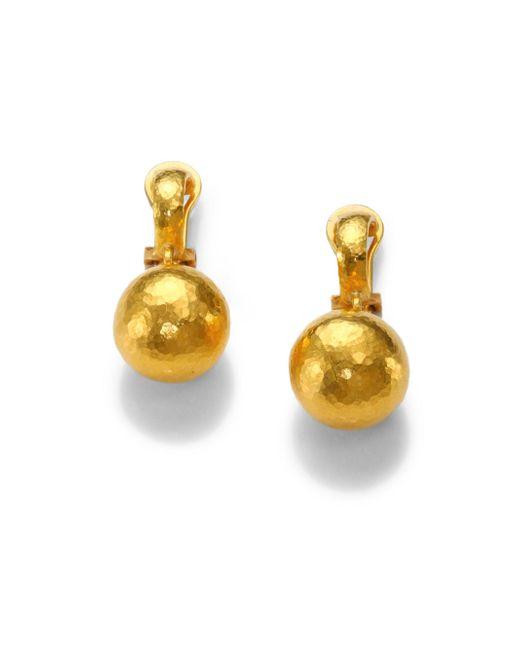 Gurhan   Metallic 24k Yellow Gold Ball Drop Earrings   Lyst