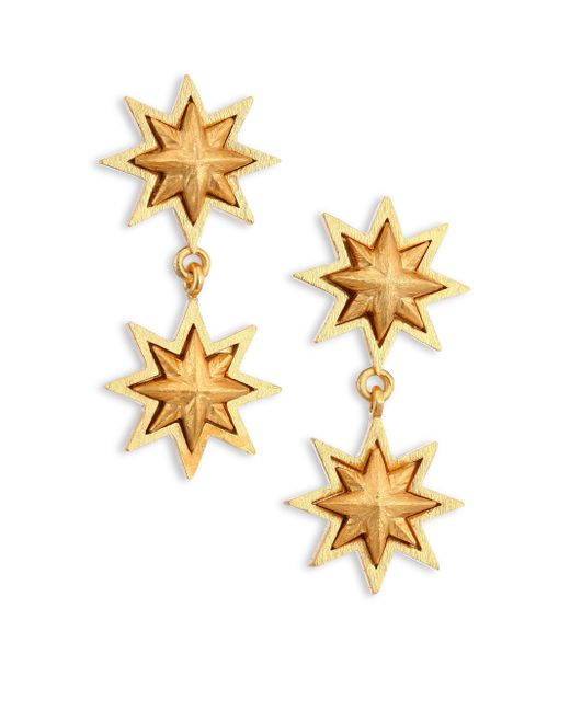 Stephanie Kantis | Metallic Double Sunburst 24k Yellow Gold Drop Earrings | Lyst
