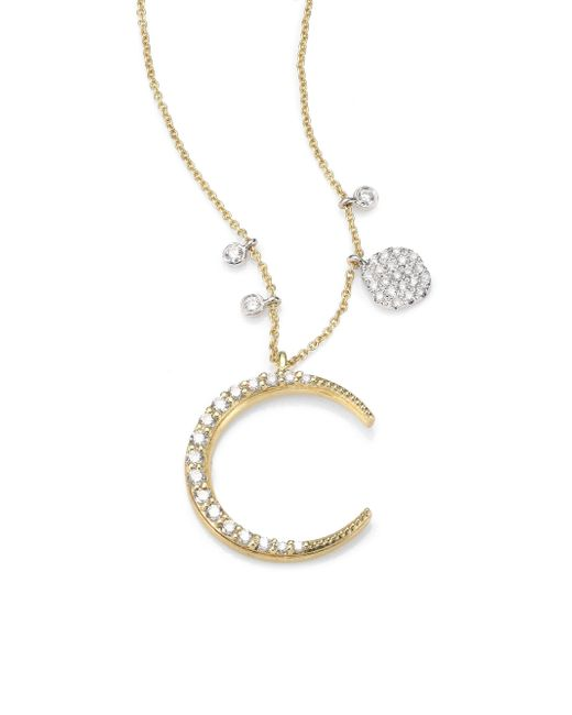 Meira T - Metallic Diamond & 14k Yellow Gold Moon Pendant Necklace - Lyst