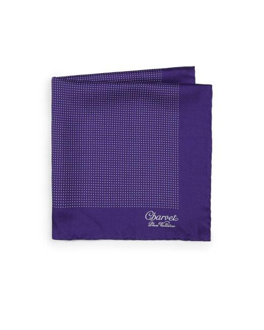 Charvet - Purple Small Pattern Silk Pocket Square for Men - Lyst