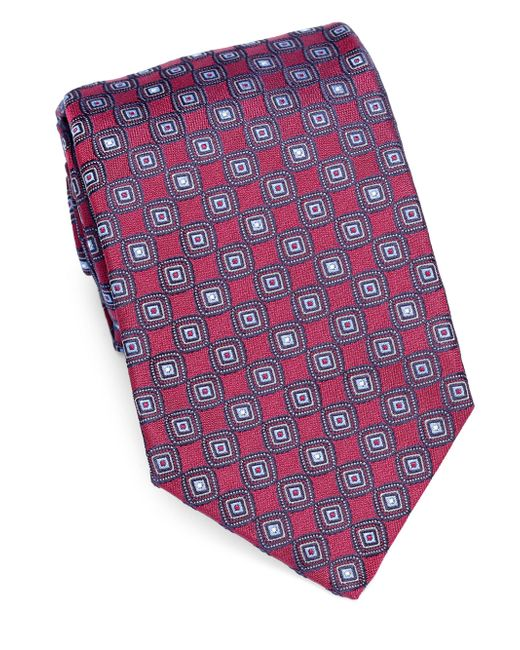 Isaia - Purple Embroidered Silk Tie for Men - Lyst
