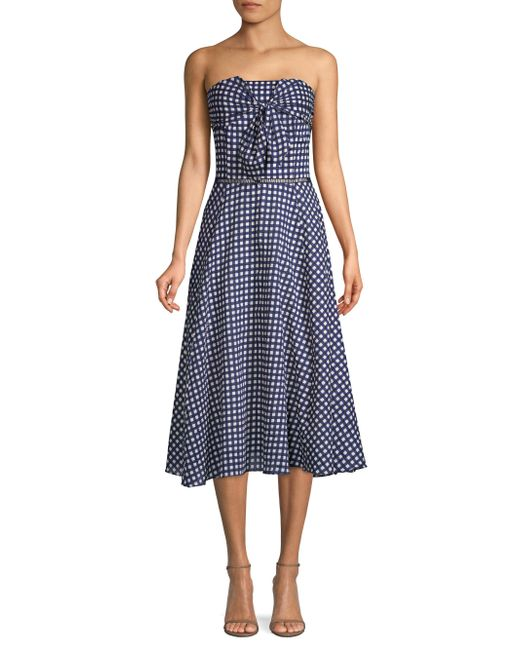 Shoshanna - Blue Ellen Gingham Cotton Dress - Lyst