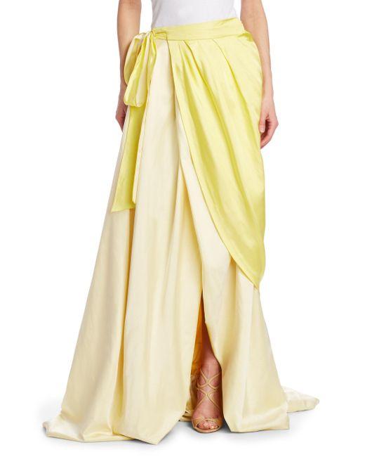 Rosie Assoulin - Yellow Draped Silk Wrap Ball Skirt - Lyst