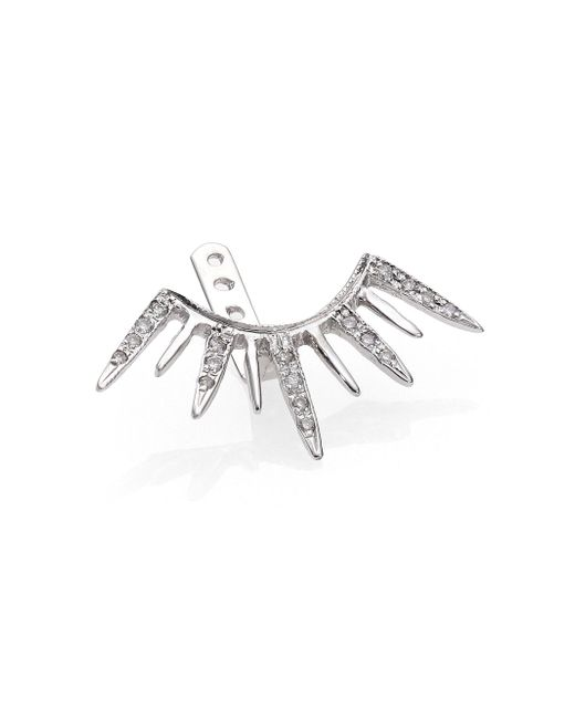 Jacquie Aiche - Diamond & 14k White Gold Large Starburst Single Ear Jacket - Lyst