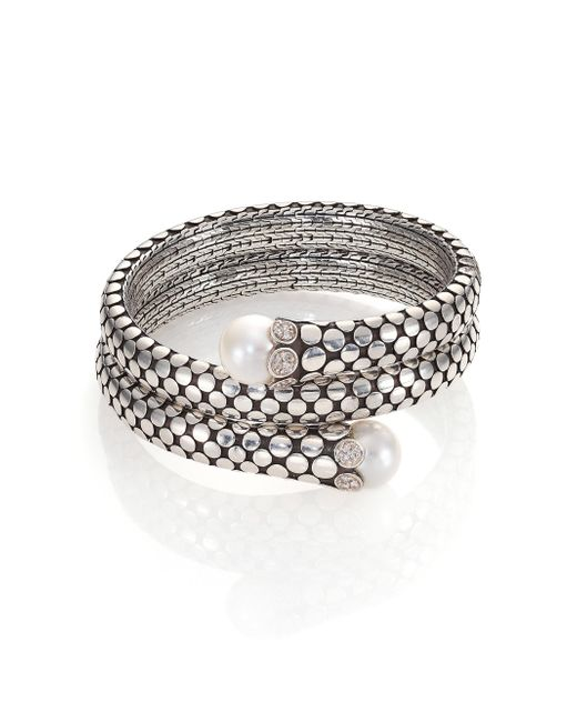John Hardy - Metallic Dot 11mm White Pearl, Diamond & Sterling Silver Double Coil Bracelet - Lyst