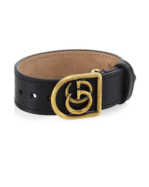Gucci - Black Marmont Double G Leather Bracelet for Men - Lyst