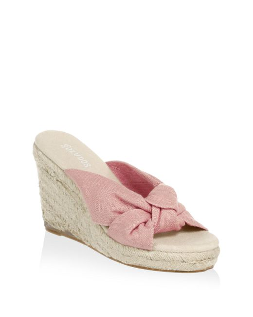 Soludos - Pink Knotted Wedge Sandals - Lyst