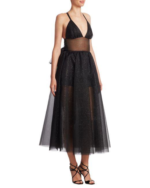 Rosie Assoulin - Black Tulle Shimmering Midi Dress - Lyst