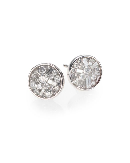Plevé - Metallic Ice Diamond & 18k White Gold Stud Earrings - Lyst