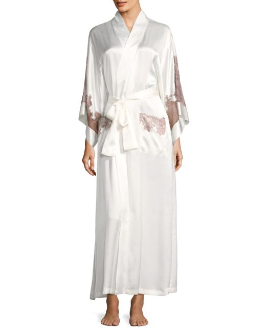 Natori - White Long Lace Trim Robe - Lyst