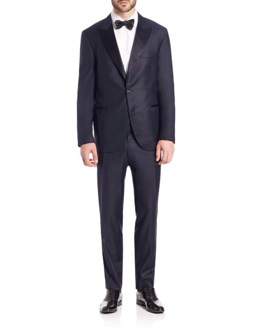 Brunello Cucinelli - Blue Wool Tuxedo Suit for Men - Lyst