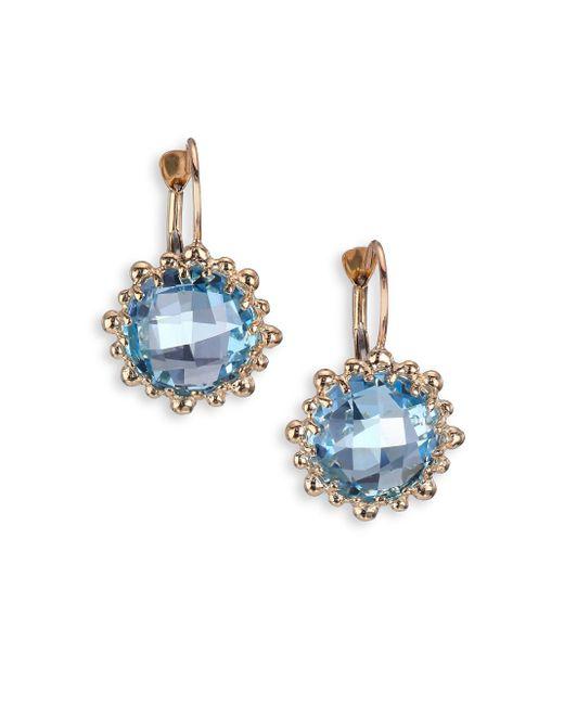 Anzie | Dew Drop Sky Blue Topaz & 14k Yellow Gold Earrings | Lyst