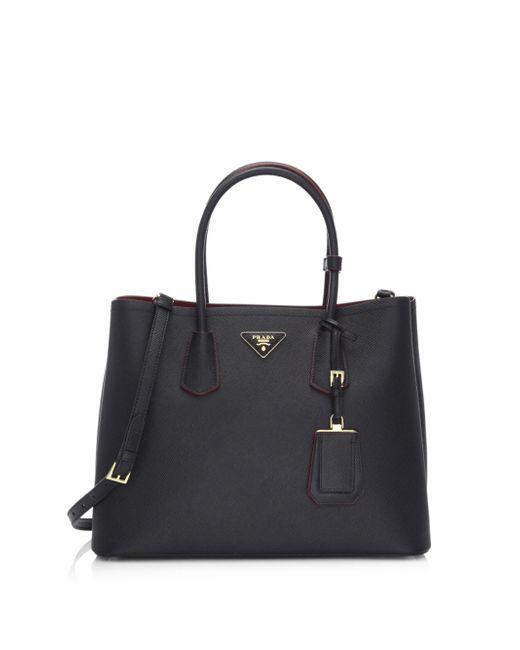 Prada - Black Saffiano Cuir Large Double Bag - Lyst