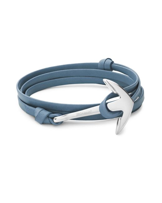 Miansai - Blue Stainless Steel And Leather Anchor Bracelet - Lyst