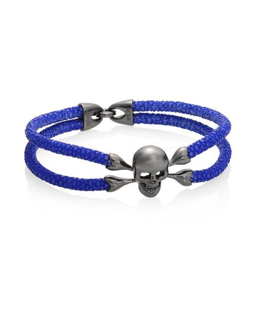 Stinghd - Blue Blackened Silver & Stingray Skull Wrap Bracelet for Men - Lyst