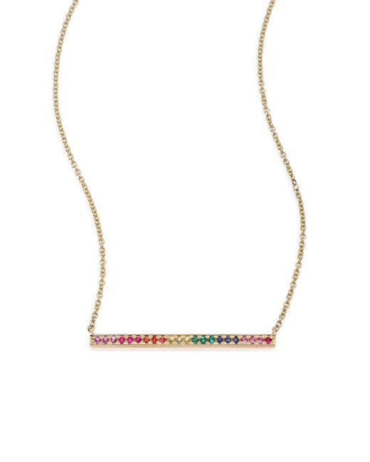 Sydney Evan - Metallic Yellow Gold Rainbow Bar Necklace - Lyst
