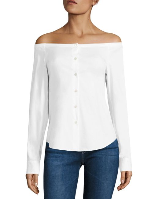 Theory | White Auriana Stretch-cotton Off-the-shoulder Top | Lyst