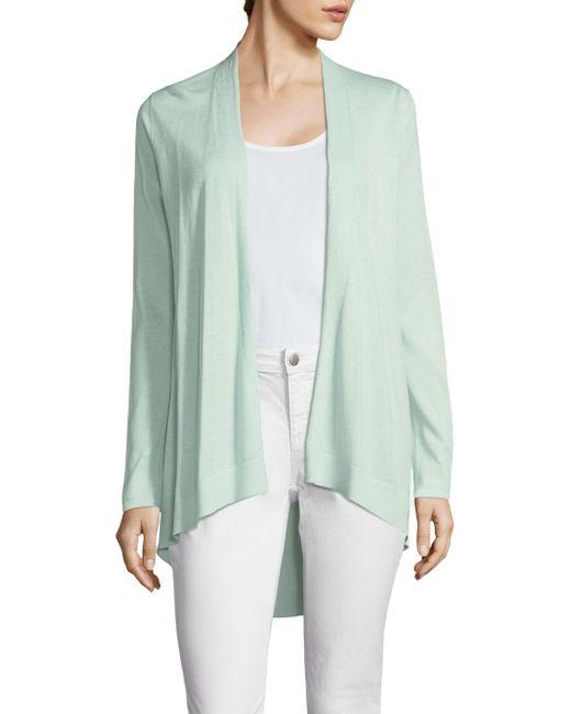 Eileen Fisher - Green Organic Silk-shaped Open Cardigan - Lyst