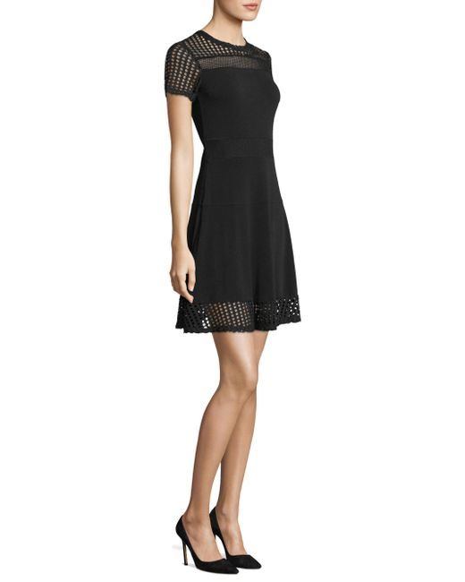 MICHAEL Michael Kors - Black Mesh Accented Roundneck Dress - Lyst