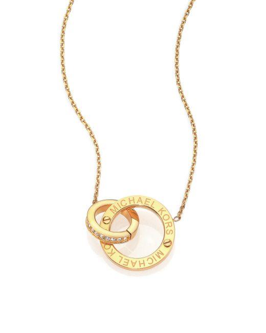 Michael Kors | Metallic Heritage Logo Pave Double-ring Pendant Necklace/goldtone | Lyst