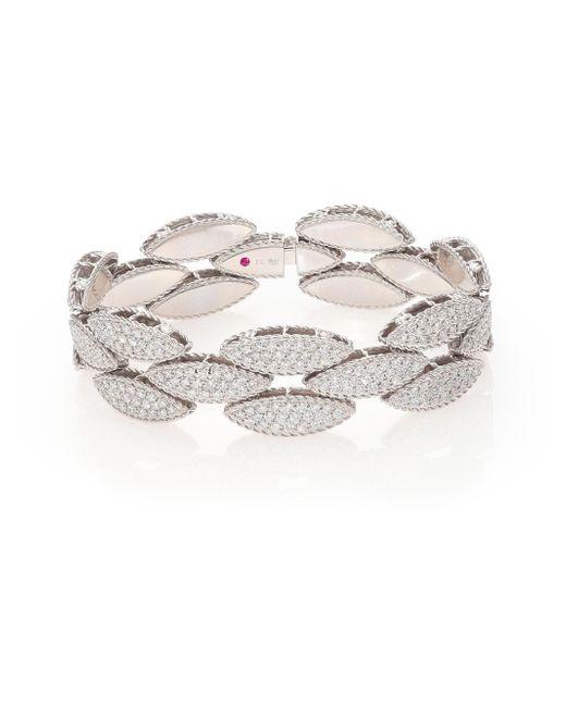 Roberto Coin | Metallic Retro 18k White Gold & Diamond Bangle Bracelet | Lyst