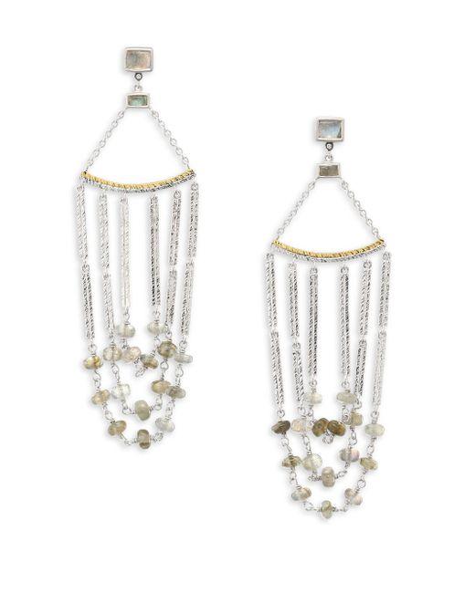Coomi | Metallic Spring Labradorite, Diamond & Sterling Silver Chandelier Earrings | Lyst