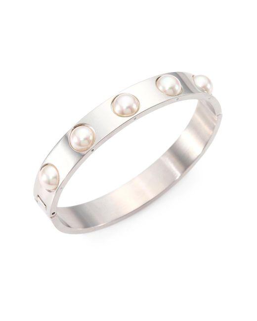 Majorica | 7mm White Pearl Bangle Bracelet | Lyst