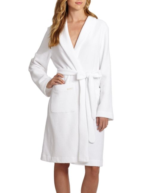 Hanro - White Plush Wrap Robe - Lyst