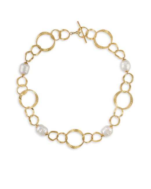 """Majorica - White Gold-tone Imitation Pearl Circle Link 16"""" Collar Necklace - Lyst"""