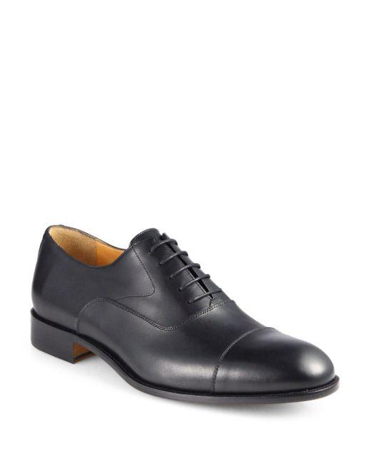 Saks Fifth Avenue - Black Tyler Leather Cap Toe Oxfords for Men - Lyst