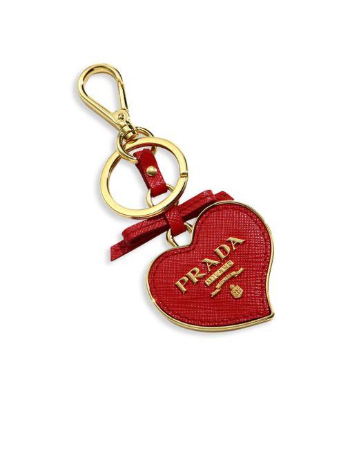 Prada - Red Saffiano Leather Heart Keychain - Lyst