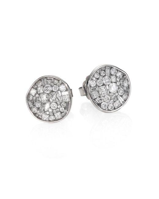 Plevé - Ice Diamond & 18k White Gold Pebble Button Earrings - Lyst