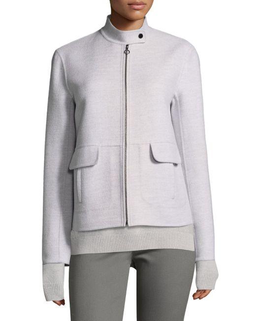 St. John - Gray Doubleface Angora Cashmere Jacket - Lyst